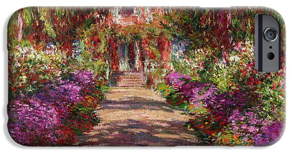 Home Paintings iPhone Cases - A Pathway in Monets Garden Giverny iPhone Case by Claude Monet