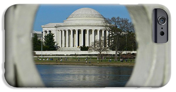 President iPhone Cases - A Peek At The Jefferson Memorial iPhone Case by Emmy Marie Vickers