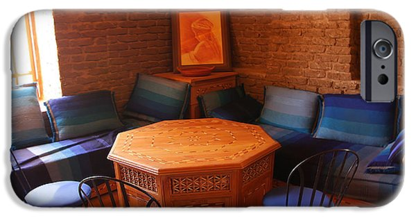 Furniture iPhone Cases - A picture of morrocan house interior with an octagonal ornamenta iPhone Case by Jozef Klopacka