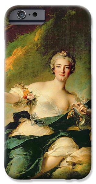 Duchess iPhone Cases - A Portrait of Anne Josephe Bonnnier de la Mossau  iPhone Case by Jean Marc Nattier