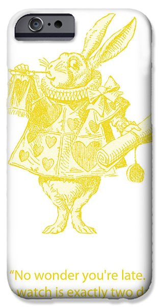 Queen Of Hearts iPhone Cases - A Punctual Rabbit iPhone Case by Nomad Art And  Design