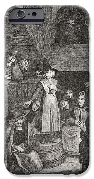 Quaker iPhone Cases - A Quaker S Meeting In The Seventeenth iPhone Case by Ken Welsh