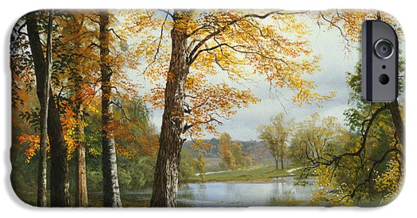 Autumn Leaf On Water iPhone Cases - A Quiet Lake iPhone Case by Albert Bierstadt
