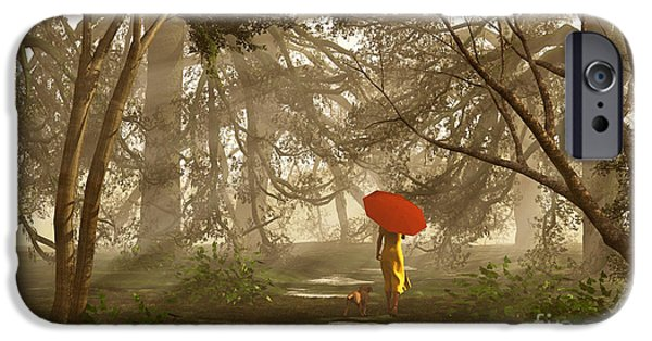 Dog In Landscape iPhone Cases - A Quiet Walk After a Rainy Day iPhone Case by Diana  Voyajolu