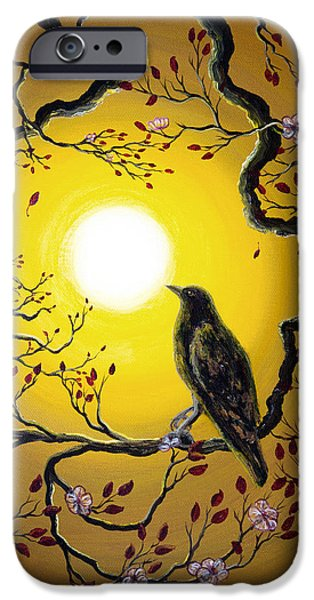 Crows Paintings iPhone Cases - A Raven Remembers Spring iPhone Case by Laura Iverson