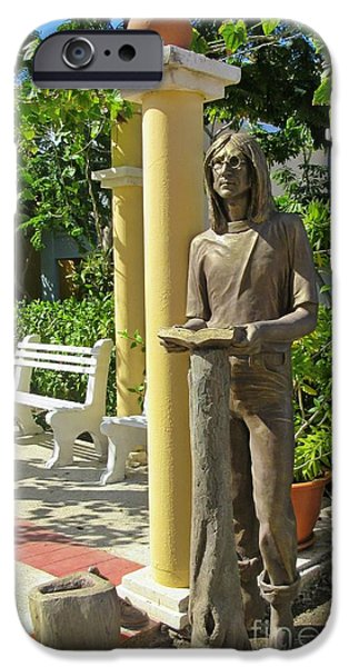 Beatles Sculptures iPhone Cases - A Reading by John Lennon iPhone Case by John Malone