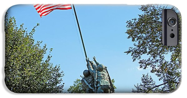 Cora Wandel iPhone Cases - A Rear View Of The Iwo Jima Monument With Trees iPhone Case by Cora Wandel