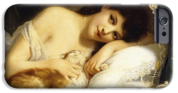 Sheets iPhone Cases - A Reclining Beauty with her Cat iPhone Case by Fritz Zuber-Buhler