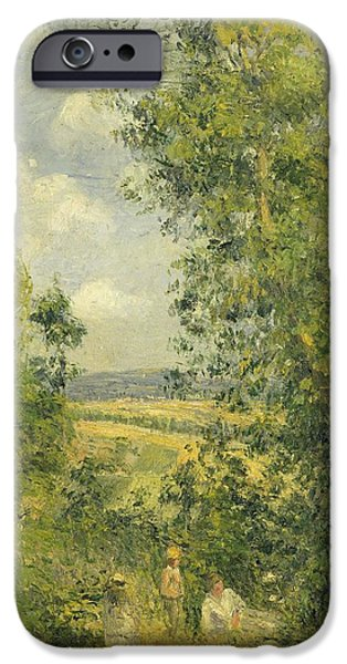 Camille Pissarro iPhone Cases - A Rest in the Meadow iPhone Case by Camille Pissarro