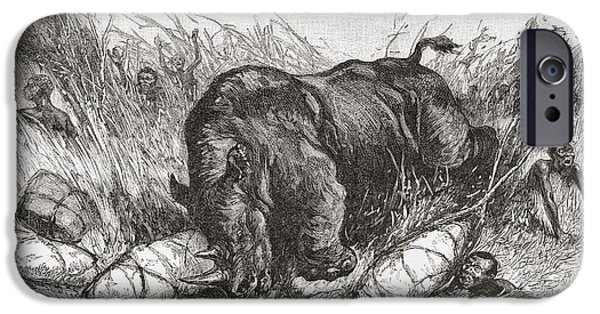 African Animal Drawings iPhone Cases - A Rhinoceros Attacks An Expedition In iPhone Case by Ken Welsh