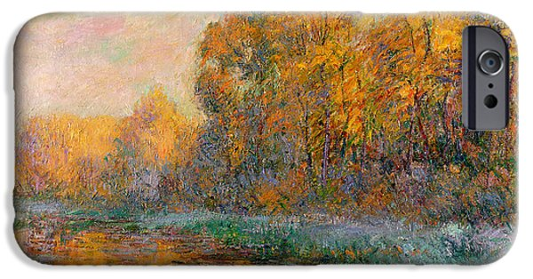 Turning Leaves iPhone Cases - A River in Autumn iPhone Case by Gustave Loiseau