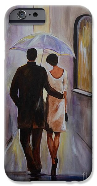 Recently Sold -  - Couple iPhone Cases - A Romantic Stroll iPhone Case by Leslie Allen