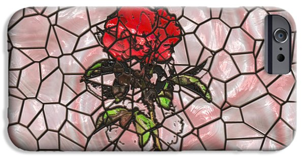 Recently Sold -  - Floral Digital Art Digital Art iPhone Cases - A Rose on Stained Glass iPhone Case by John Bailey