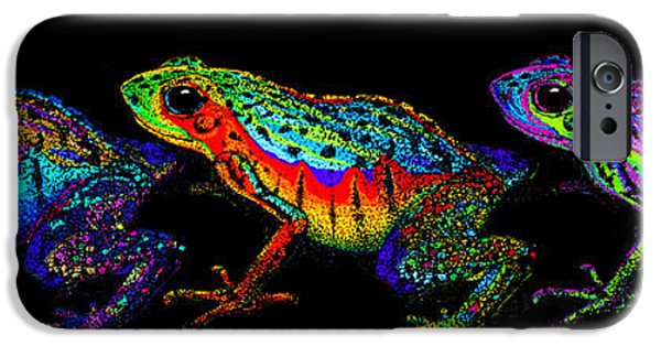 Amphibians Digital Art iPhone Cases - A Row of Rainbow Frogs iPhone Case by Nick Gustafson