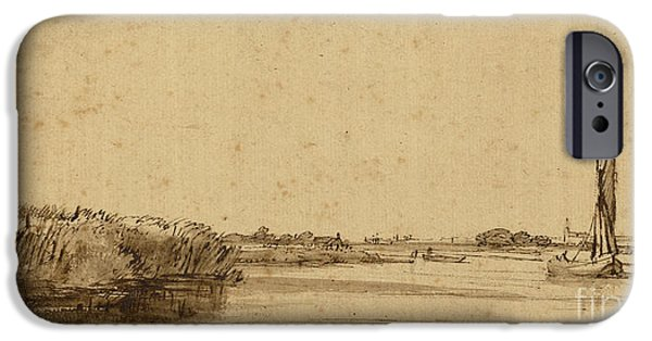 Rembrandt Drawings iPhone Cases - A Sailing Boat on a Wide Expanse of Water iPhone Case by Rembrandt Harmensz van Rijn