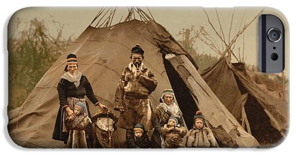 Norway Paintings iPhone Cases - A Sami Lapp family in Norway iPhone Case by Celestial Images