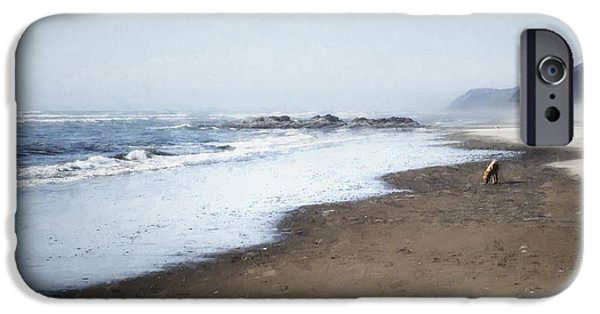 Dogs iPhone Cases - A Sandy World at Her Feet iPhone Case by Belinda Greb