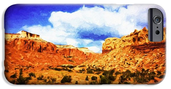 Pinion Paintings iPhone Cases - A Scene From Abiquiu iPhone Case by Jim Buchanan