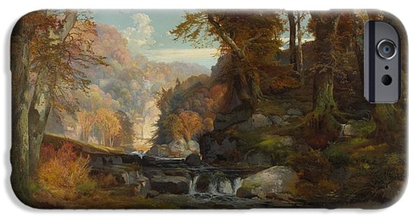 Rural Schools iPhone Cases - A Scene on the Tohickon Creek iPhone Case by Thomas Moran