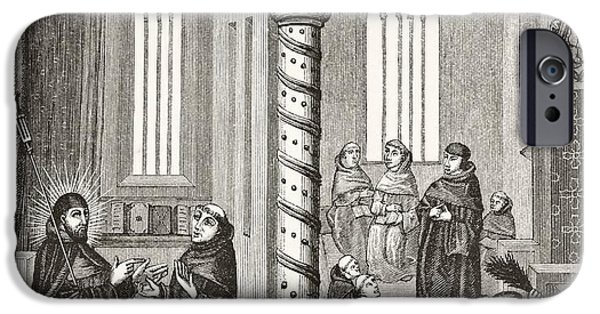 Religious Drawings iPhone Cases - A School Of Mendicant Monks And A Pupil iPhone Case by Ken Welsh