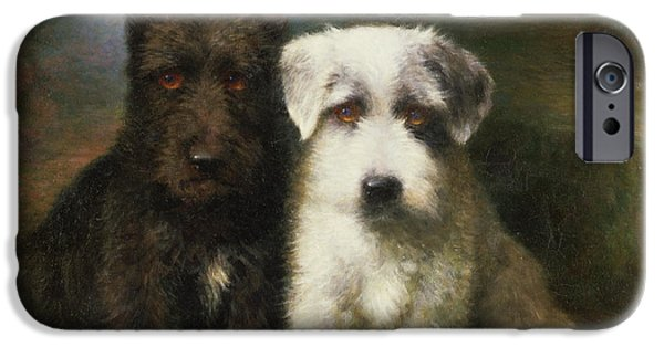 Terrier iPhone Cases - A Scottish and a Sealyham Terrier iPhone Case by Lilian Cheviot