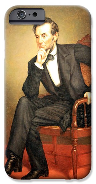 Cora Wandel iPhone Cases - A Seated Abraham Lincoln iPhone Case by Cora Wandel