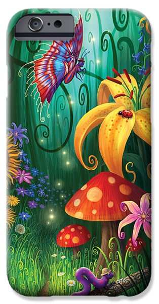Mushrooms iPhone Cases - A Secret Place iPhone Case by Philip Straub