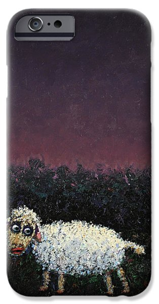 Texture Paintings iPhone Cases - A sheep in the dark iPhone Case by James W Johnson