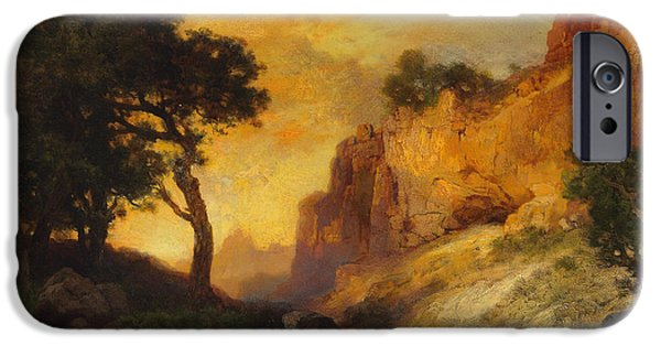 Hudson River iPhone Cases - A Side Canyon iPhone Case by Thomas Moran