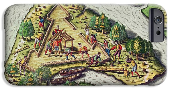 River View Drawings iPhone Cases - A Site for the Fort is Chosen iPhone Case by Theodore de Bry