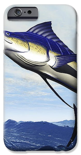 A Sleek Blue Marlin Bursts iPhone Case by Corey Ford