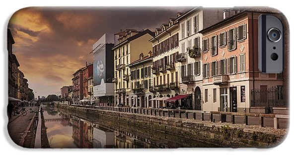Burnt Umber iPhone Cases - A Sleepy Sunday at Naviglio Grande iPhone Case by Carol Japp