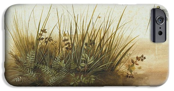 Nature Study Paintings iPhone Cases - A Small Piece Of Turf iPhone Case by Hans Hoffmann