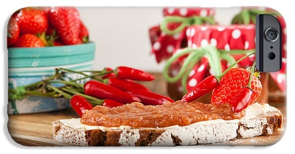 Diy iPhone Cases - A snack on a rustic table with chili and strawberry jam iPhone Case by Wolfgang Steiner