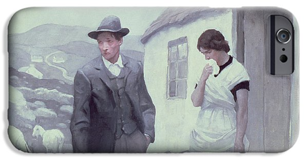 Weeping Drawings iPhone Cases - A Son of His Father  iPhone Case by Newell Convers Wyeth