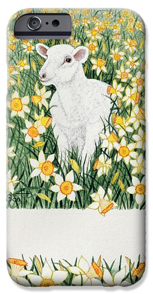 Flora Drawings iPhone Cases - A Spring in the Step iPhone Case by Pat Scott