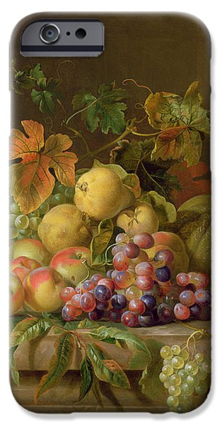 Ledge iPhone Cases - A Still Life of Melons Grapes and Peaches on a Ledge iPhone Case by Jakob Bogdani