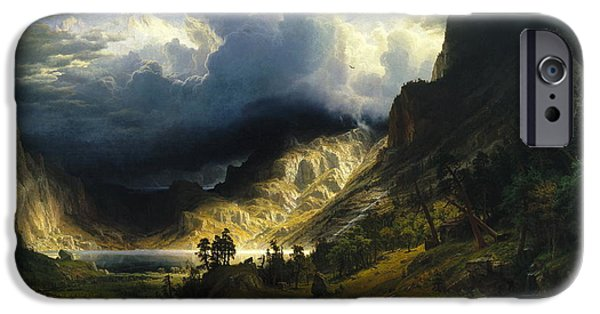 Destiny iPhone Cases - A Storm in the Rocky Mountains Mt. Rosalie 1866 iPhone Case by Albert Bierstadt
