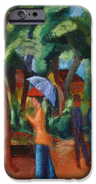 Abstract Expressionist iPhone Cases - A Stroll in the Park iPhone Case by August Macke