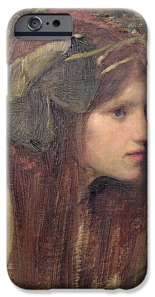 Pre-raphaelites iPhone Cases - A Study for a Naiad iPhone Case by John William Waterhouse