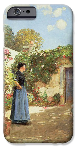 Morning Sun On Vines iPhone Cases - A Sunny Morning iPhone Case by Childe Hassam