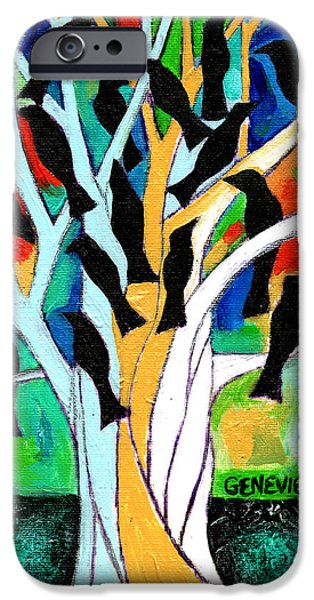 Nature Abstract iPhone Cases - A Symphony Of Crows iPhone Case by Genevieve Esson