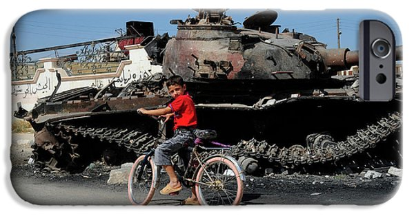 Recently Sold -  - East Village iPhone Cases - A Syrian Boy On His Bicycle In Front iPhone Case by Andrew Chittock