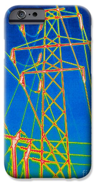 Circuit iPhone Cases - A Thermogram Of High Voltage Power Lines iPhone Case by Ted Kinsman