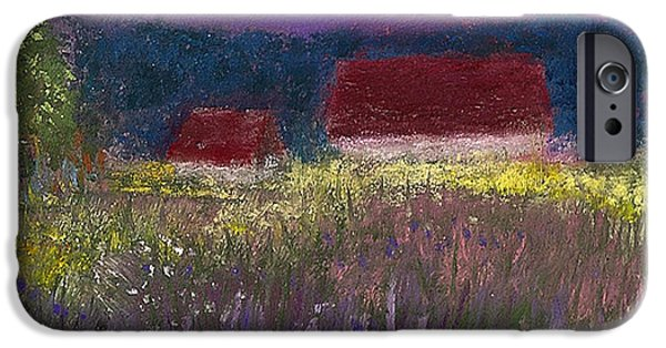 Barn Landscape Pastels iPhone Cases - A Touch of Lavender iPhone Case by David Patterson
