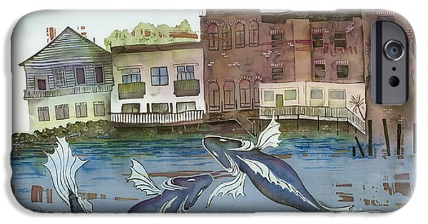 States Tapestries - Textiles iPhone Cases - A Town By The Sea iPhone Case by Carolyn Doe