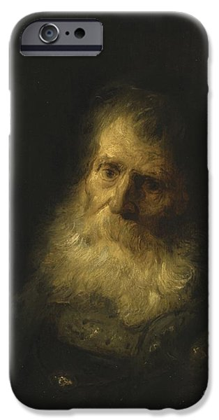 Lieven iPhone Cases - A Tronie The Head And Shoulders Of An Old Bearded Man iPhone Case by Jan Lievens