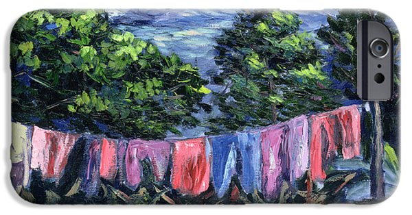 Laundry Paintings iPhone Cases - A Tropical Landscape iPhone Case by Carlton Murrell