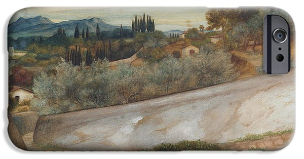 Tuscan Landscapes iPhone Cases - A Tuscan landscape with village and olive grove iPhone Case by John Roddam Spencer Stanhope