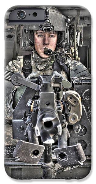 A Uh-60 Black Hawk Door Gunner Manning iPhone Case by Terry Moore